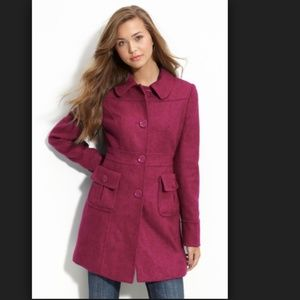 Tulle Raspberry Pink Wool Peacoat Jacket